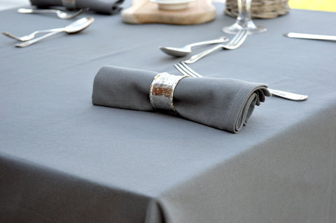Tablecloth, 100% Cotton Plain Dyed Charcoal Grey 12 Sizes Square Round Oblong Oval