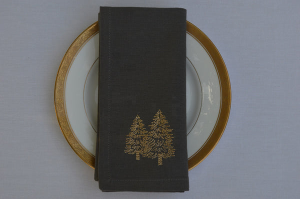 Christmas Napkins, Charcoal Grey with Gold Embroidered Christmas Trees 41x41cm 16x16