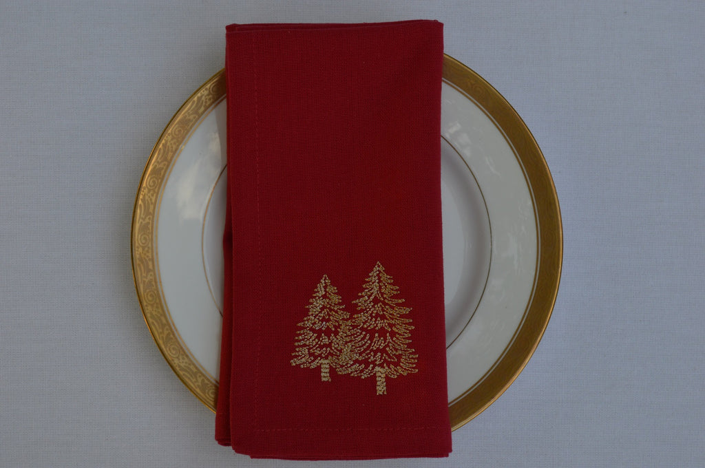 Napkins, Red with Gold Embroidered Trees 41x41cm 16x16