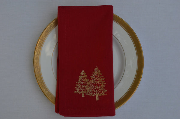 Christmas Napkins, Red with Gold Embroidered Christmas Trees 41x41cm 16x16