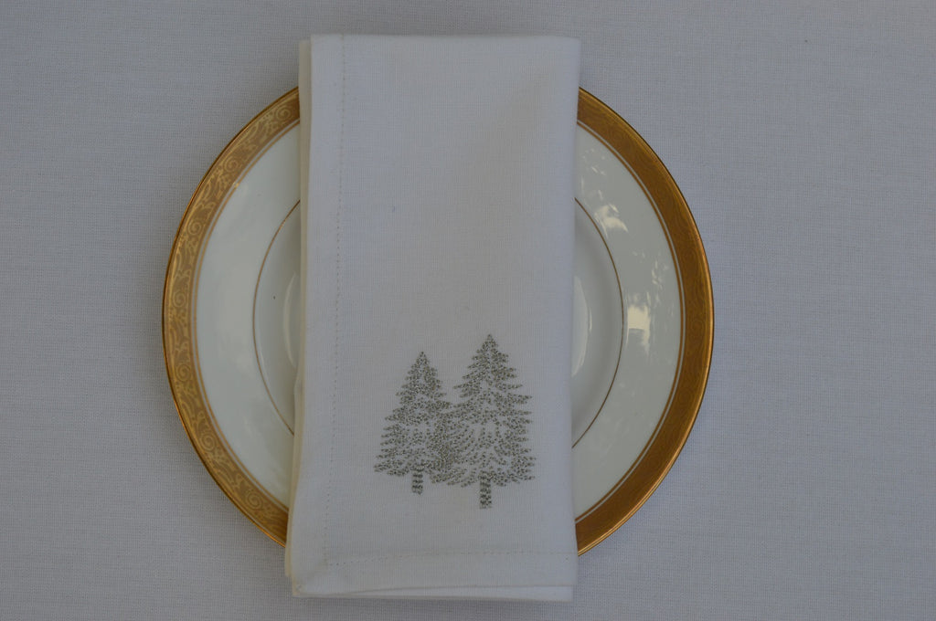 Napkins, White with Silver Embroidered Trees 41x41cm 16x16