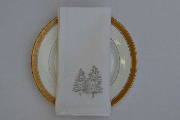 Christmas Napkins, White with Silver Embroidered Christmas Trees 41x41cm 16x16