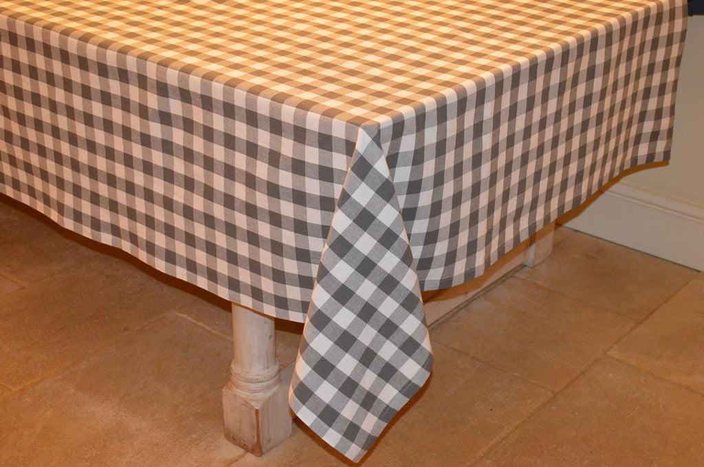 Tablecloth, 100% Cotton Country Check Charcoal Grey/White 10 Sizes Square Round Oblong