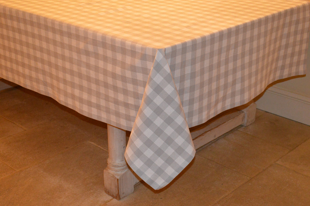 Tablecloth, 100% Cotton Country Check Dove Grey/White 10 Sizes Square Round Oblong