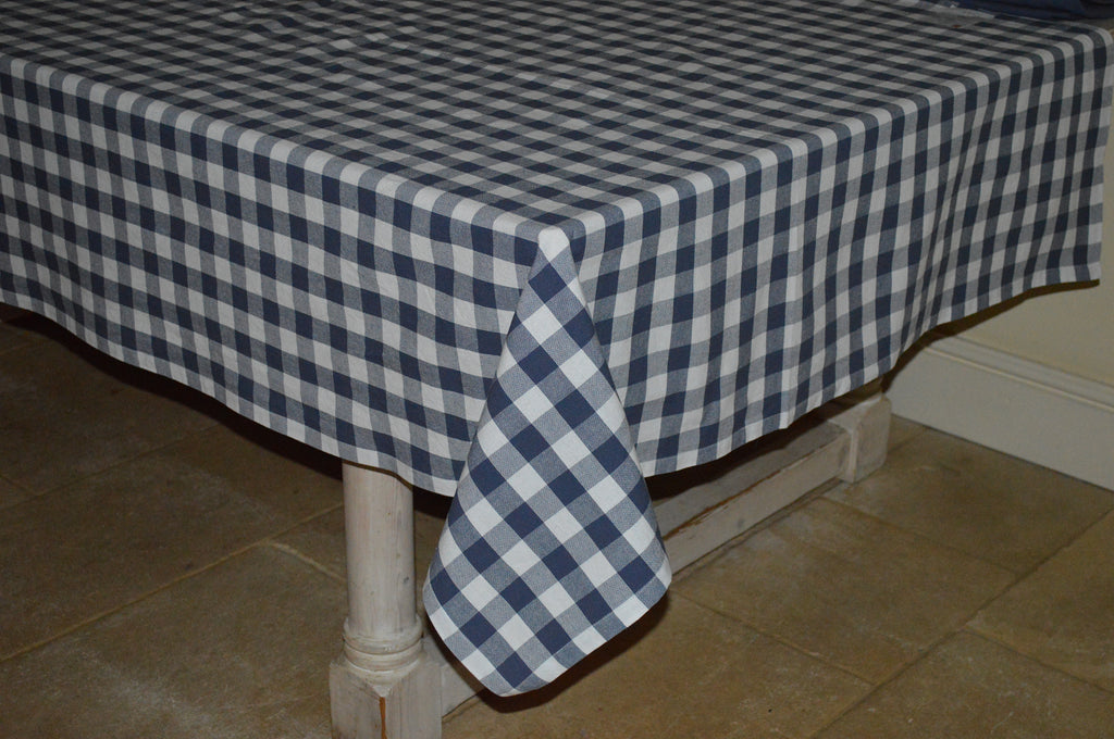 Tablecloth, 100% Cotton Country Check Indigo/White 10 Sizes Square Round Oblong