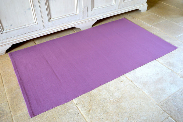 Floor Rug, 100% Cotton Flat Weave Damson Wine 2 Sizes