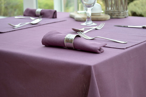 Tablecloth, 100% Cotton Plain Dyed Damson Wine Plum 7 Sizes Square Round Oblong