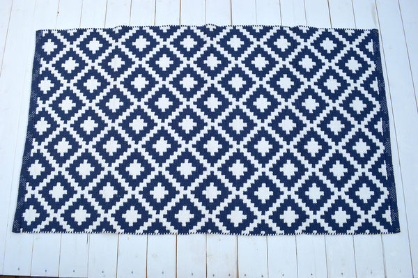 Floor Rug, 100% Cotton Diamond Weave in Indigo Blue/White 2 Sizes