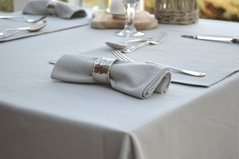 Tablecloth, 100% Cotton Plain Dyed Dove Grey 12 Sizes Square Round Oblong