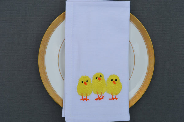 Easter Napkins, White with Three Embroidered Chicks 41x41cm 16x16