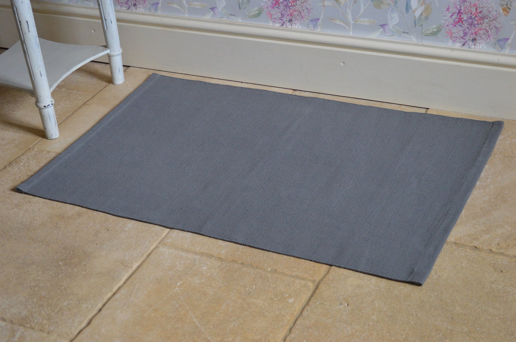 Floor Rug, 100% Cotton Flat Weave Charcoal Grey 2 Sizes