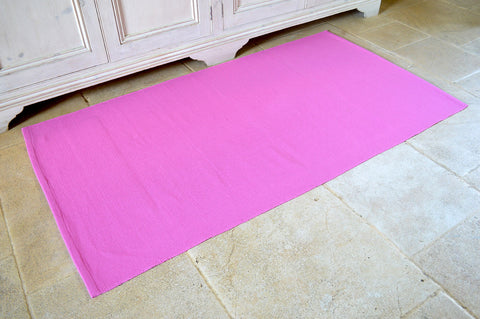 Floor Rug, 100% Cotton Flat Weave Fuchsia Pink 2 Sizes