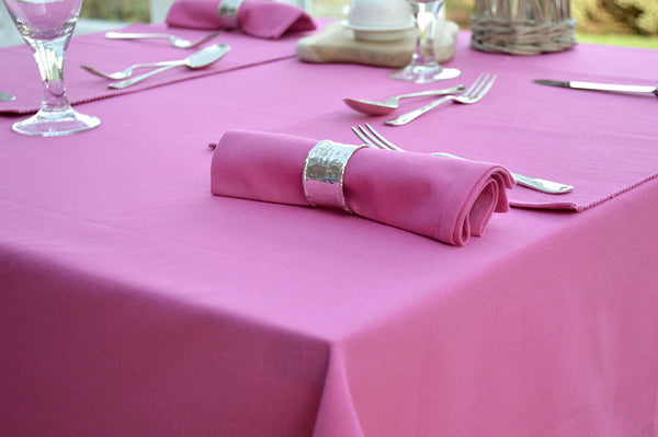 Tablecloth, 100% Cotton Plain Dyed Fuchsia Pink 7 Sizes Square Round Oblong
