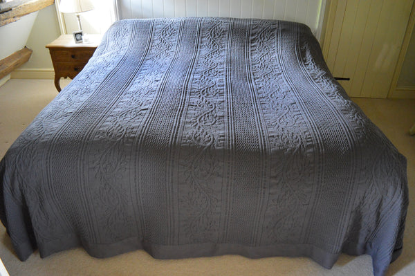 Bedspread, 100% Cotton Full size Charcoal Grey Throwover, Single, Double, King, Superking