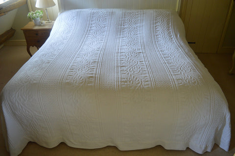 Bedspread, 100% Cotton Full size White Throwover, Single, Double, King, Superking