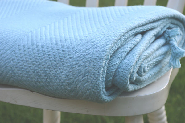Throw, 100% Cotton Herringbone Weave 150x200cm Azure Blue