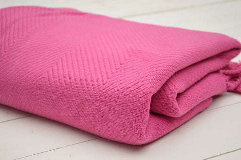 Throw, 100% Cotton Herringbone Weave 150x200cm Fuschia Pink