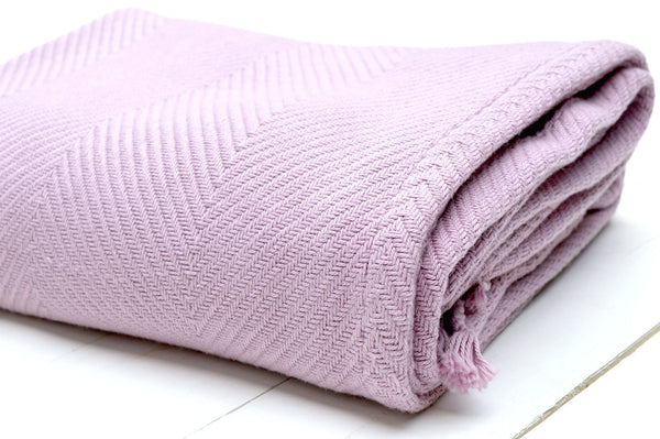 Throw, 100% Cotton Herringbone Weave 150x200cm Orchid Pink
