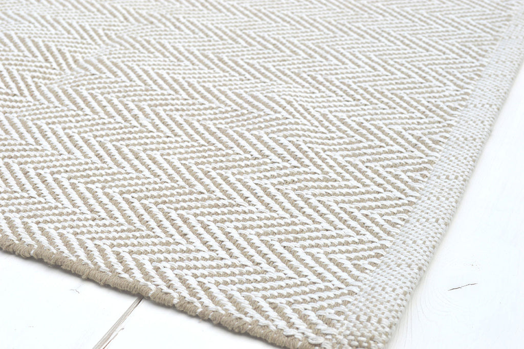 Floor Rug, 100% Cotton Herringbone Weave in Pebble Natural / White 4 Sizes