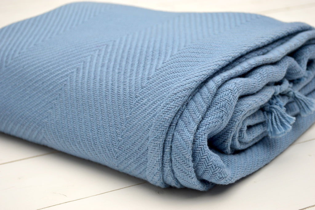 Throw, 100% Cotton Herringbone Weave 150x200cm Storm Blue