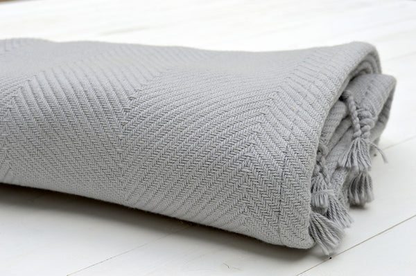 Throw, 100% Cotton Herringbone Weave 150x200cm Dove Grey