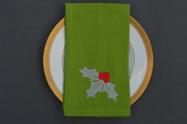 Christmas Napkins, Green with Sprig of Silver Holly 41x41cm 16x16