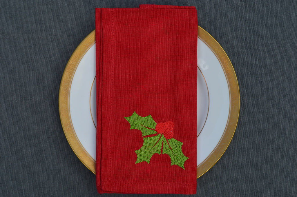 Christmas Napkins, Red with Embroidered Sprig of Holly 41x41cm 16x16