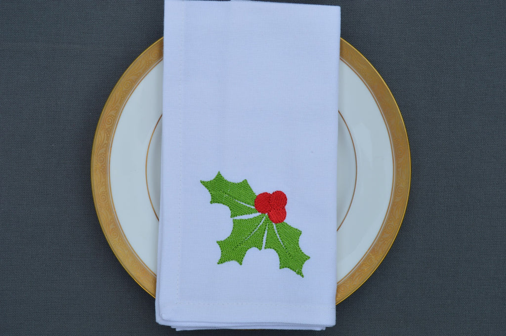 Christmas Napkins, White with Embroidered Sprig of Holly  41x41cm 16x16
