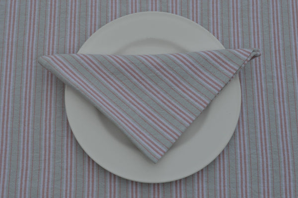 Napkins, Holmes Stripe 41x41cm Duck Egg Blue / Red pack of 4