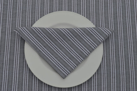 Napkins, Holmes Stripe 41x41cm Grey / Charcoal pack of 4
