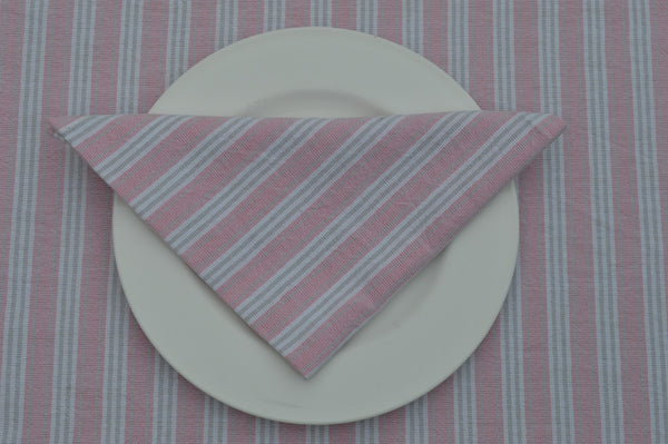 Napkins, Holmes Stripe 41x41cm Pink / Grey pack of 4