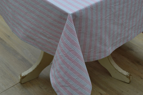 Tablecloth, 100% Cotton Holmes Stripe Pink/Grey 10 Sizes Square Round Oblong
