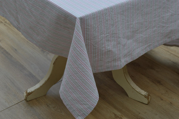 Tablecloth, 100% Cotton Holmes Stripe Duck Egg/Red 10 Sizes Square Round Oblong