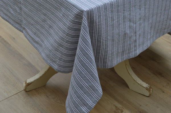 Tablecloth, 100% Cotton Holmes Stripe Grey/Charcoal 10 Sizes Square Round Oblong