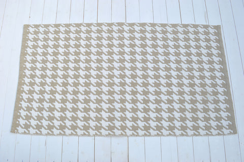 Floor Rug, 100% Cotton Houndstooth Weave in Pebble Natural / White 2 Sizes