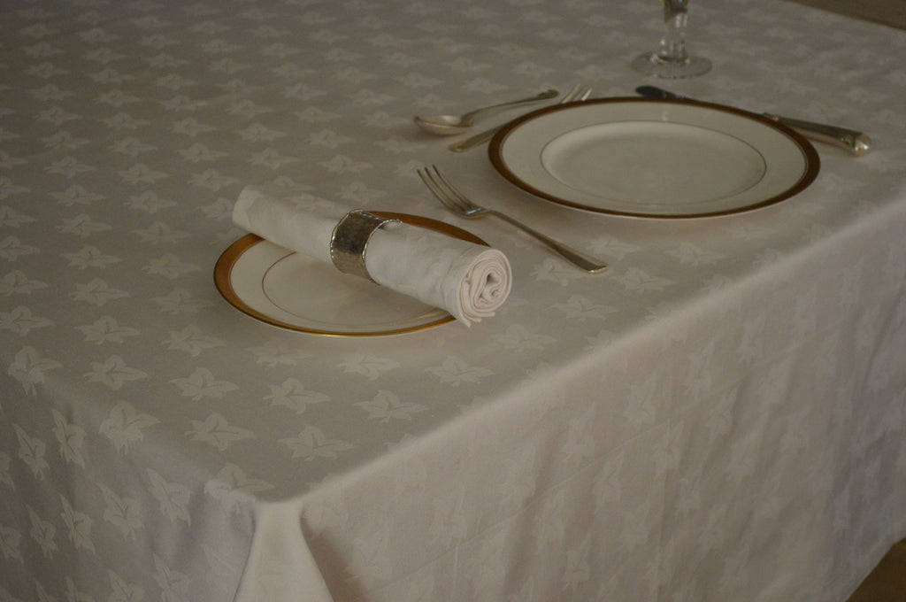 Tablecloth, 100% Cotton Premium Ivyleaf White  12 Sizes Square Oblong Oval Round