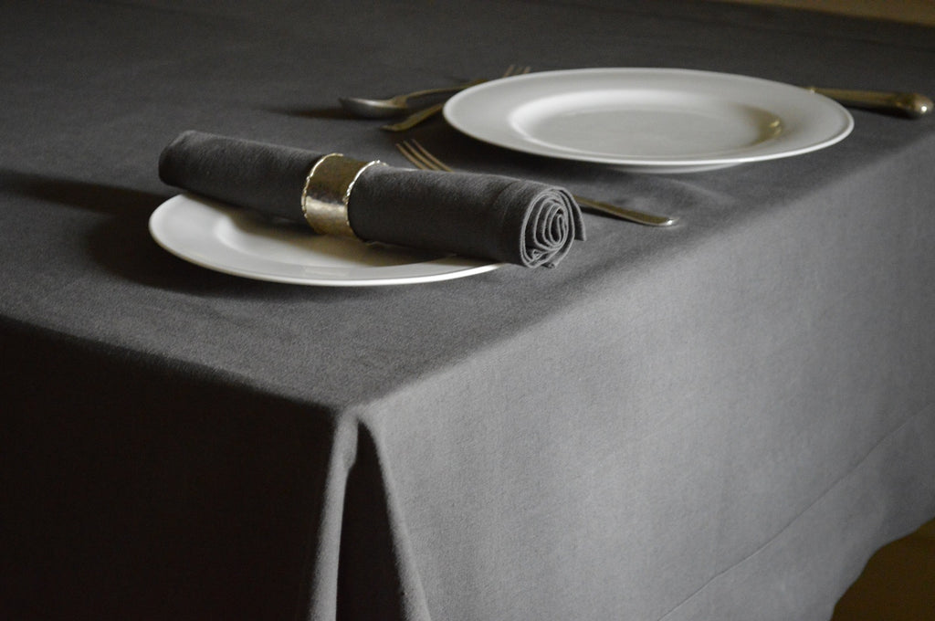 Tablecloth, Linen Cotton Charcoal Grey 12 Sizes Square Oblong Oval Round