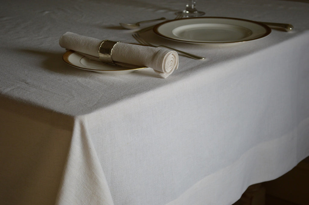 Tablecloth, Linen Cotton Soft White 12 Sizes Square Oblong Oval Round
