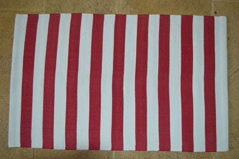 Floor Rug, 100% Cotton Lymington Stripe Flat Weave Red/White 4 Sizes