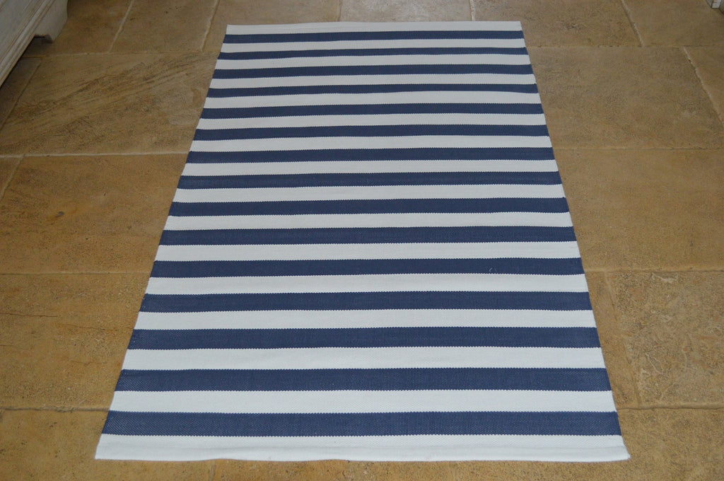 Floor Rug, 100% Cotton Lymington Stripe Flat Weave Indigo Navy/White 4 Sizes