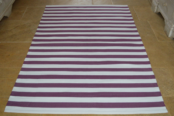 Floor Rug, 100% Cotton Lymington Stripe Flat Weave Damson Plum/White 4 Sizes