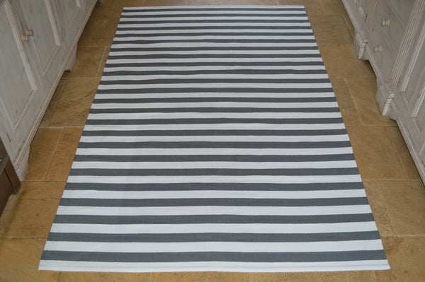 Floor Rug, 100% Cotton Lymington Stripe Flat Weave Charcoal Grey/White 4 Sizes