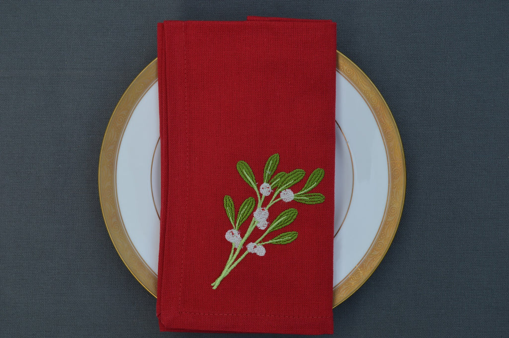 Christmas Napkins, Red with Embroidered Sprig of Mistletoe 41x41cm 16x16