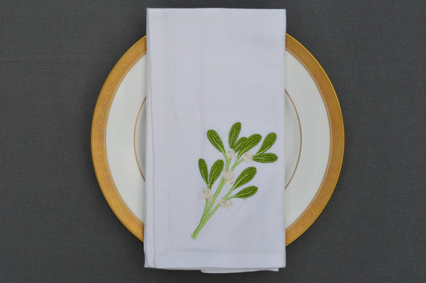 Christmas Napkins, White with Embroidered Sprig of Mistletoe  41x41cm 16x16