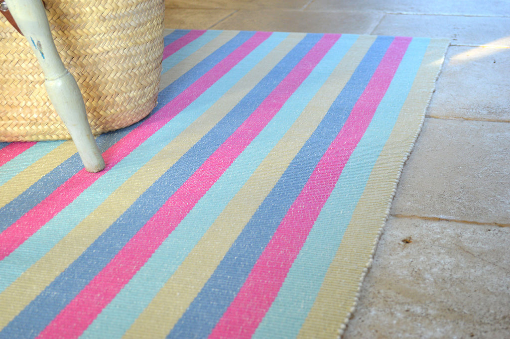 Floor Rug, 100% Cotton Rib Weave Multi Stripe 2 Sizes