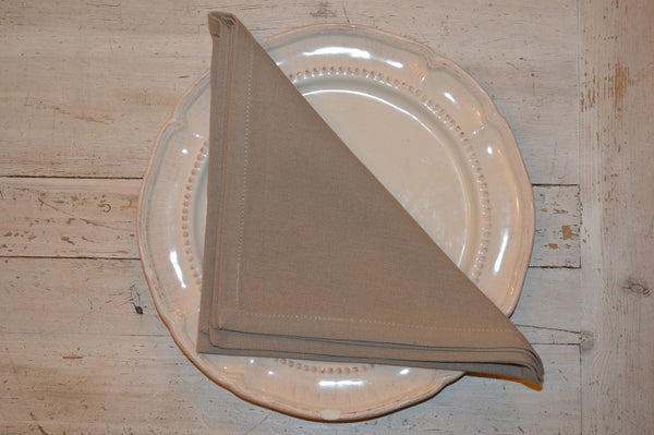 Napkins, Plain Dyed 41x41cm Natural Beige Taupe pack of 4