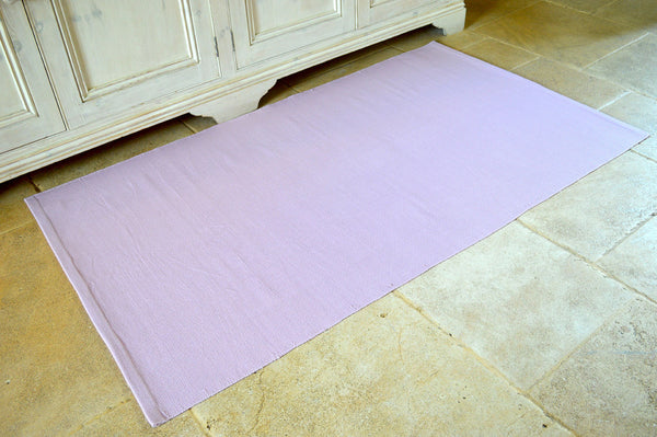 Floor Rug, 100% Cotton Flat Weave Orchid Pink 2 Sizes