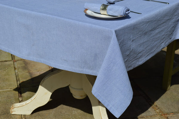 Tablecloth, 100% Cotton Oxford Chambray Denim Blue 12 Sizes Square Oblong Oval Round