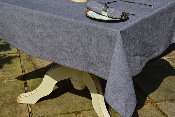 Tablecloth, 100% Cotton Oxford Chambray Graphite Grey 12 Sizes Square Oblong Oval Round