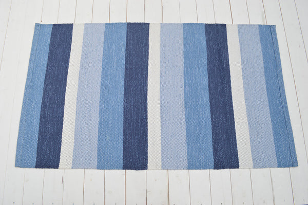 Floor Rug, 100% Cotton Pembroke Flat Weave in Blue / Indigo 3 Sizes Large